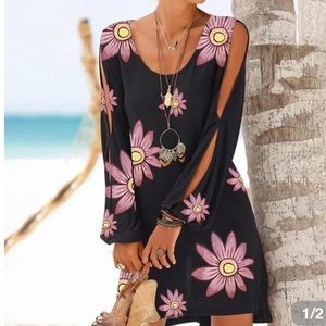 NWT Floral Daisy Dress with Cut Out Sleeves